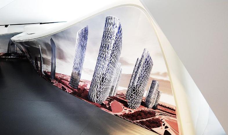 Le pavillon Mobil Art à l'Institut du Monde Arabe. © D.Raux