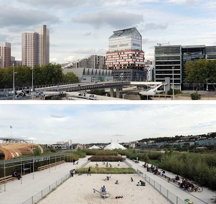 Le Pavillon est le lieu d'information sur le projet et les chantiers en cours du Trapèze, du Quartier du Pont-de-Sèvres et de l'île Seguin. © Photo Didier Raux