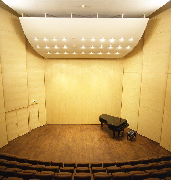 Un étonnant plafond suspendu dans l'auditorium. © Photo Didier Raux