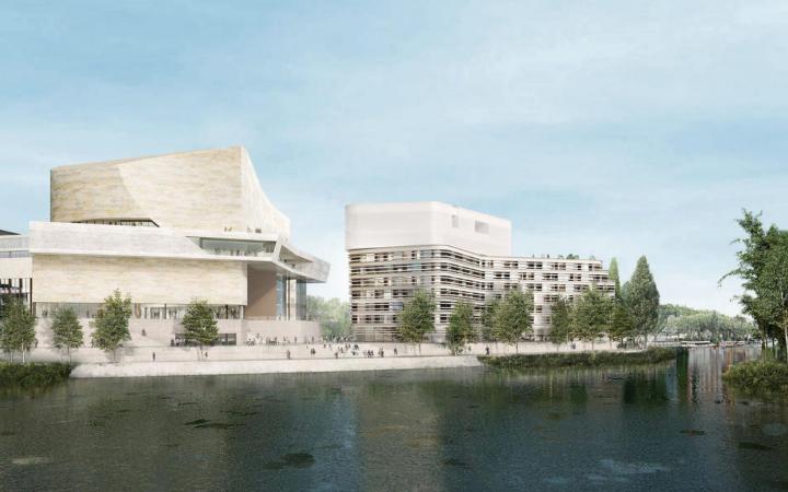 Le projet du futur pôle culturel et artistique, qui doit s'installer d'ici 2021 sur la pointe amont de l'île Seguin, a été présenté par le groupe Emerige. Il comprendra un centre d'art, mais aussi huit salles de cinéma, un hôtel de luxe et des commerces.